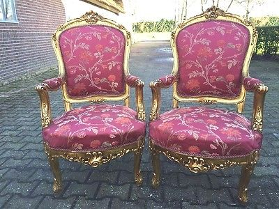 STURDY ANTIQUE PAIR OF TWO CHAIRS IN FRENCH LOUIS XVI STYLE