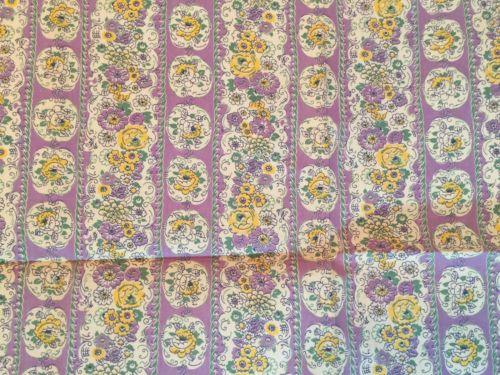 Vintage Feedsack Fabric Lavender Yellow Flowers Floral 37 x 42