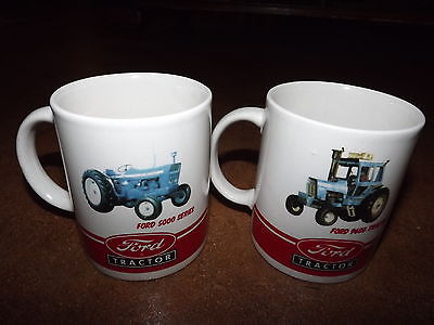 Ford 5000 series & Ford 9600 blue Tractor white red mugs cups set