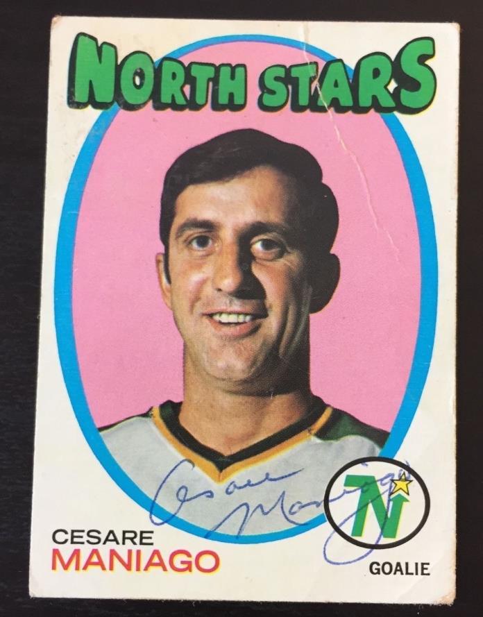 CESARE MANIAGO AUTOGRAPHED 1971-72 HOCKEY CARD,MINNESOTA NORTH STARS,Canucks