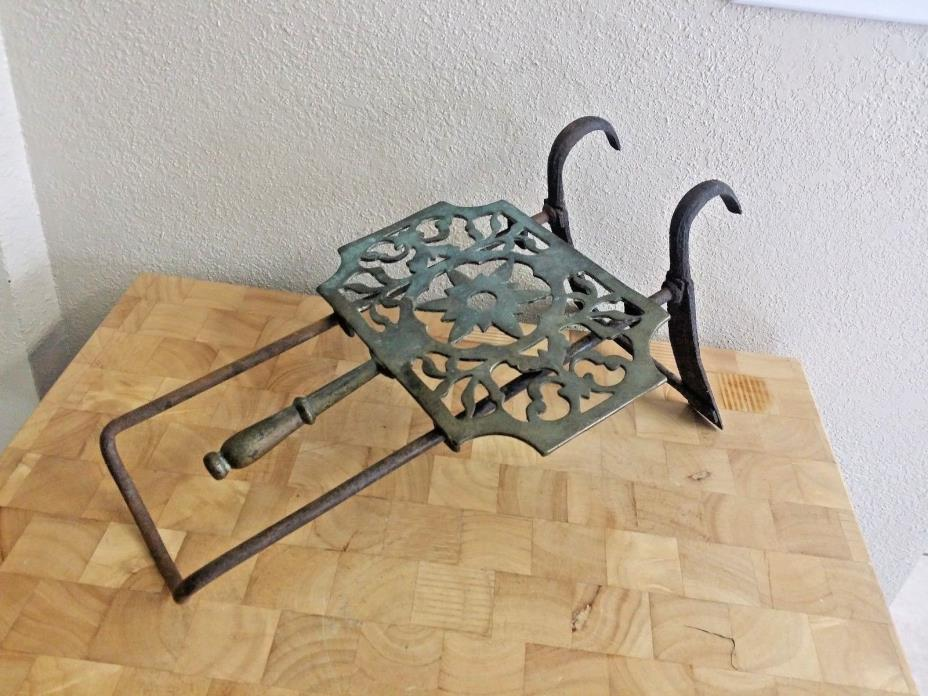 Antique Cast Iron & Brass Stove Ledge Pot Tea Kettle Shelf