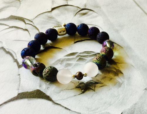 Lava Stones Real Pearl Rose Quartz Handmade Bracelet