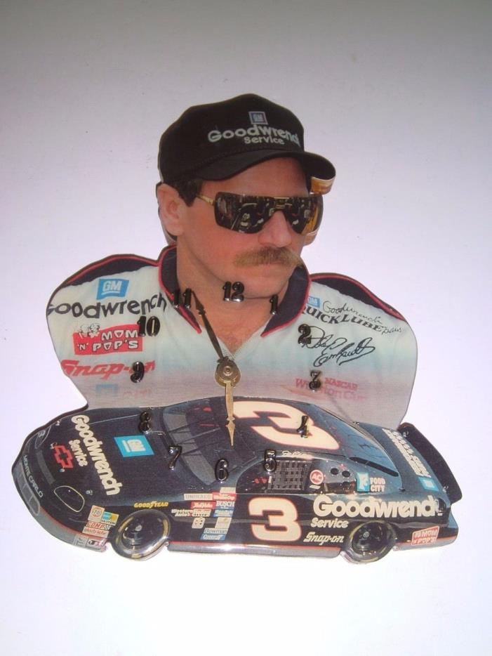 Vtg Dale Earnhardt Sr. #3 Car Wooden Cutout Wall Clock Epoxy Finish Nascar 90's