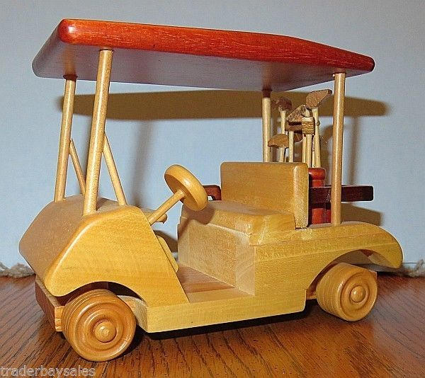 Wooden Toy GOLF CART with CLUBS - Excellent
