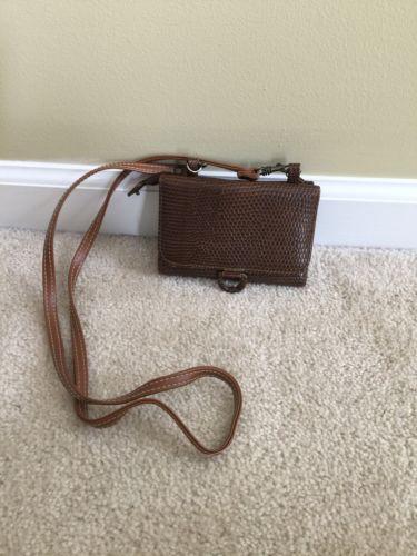 Women Lady Fashion Cross Bag Mini Handbag Crocodile Leather Brown
