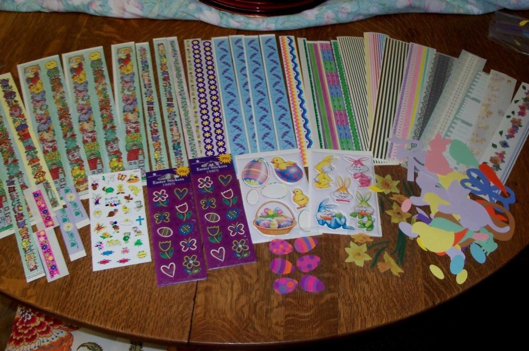 EASTER EMBELLISHMENTS--BORDERS-DIE CUTS-STICKERS-BUNNIES-EGGS-DAFFODILS-FLOWERS