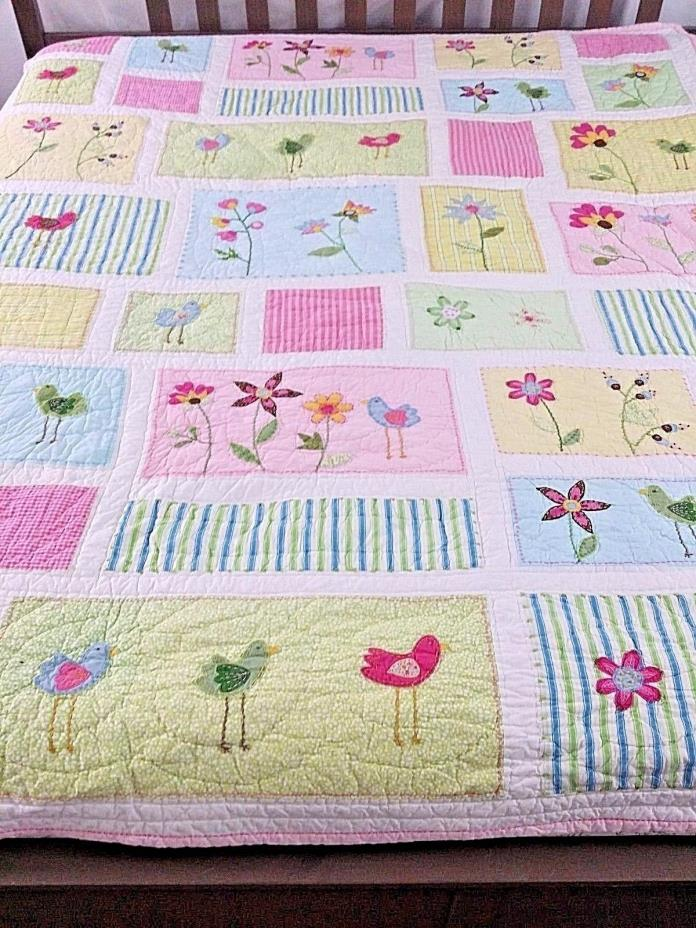 Pottery Barn Kids Appliqued Quilt sz Twin Trees Birds Flowers Pink White Striped