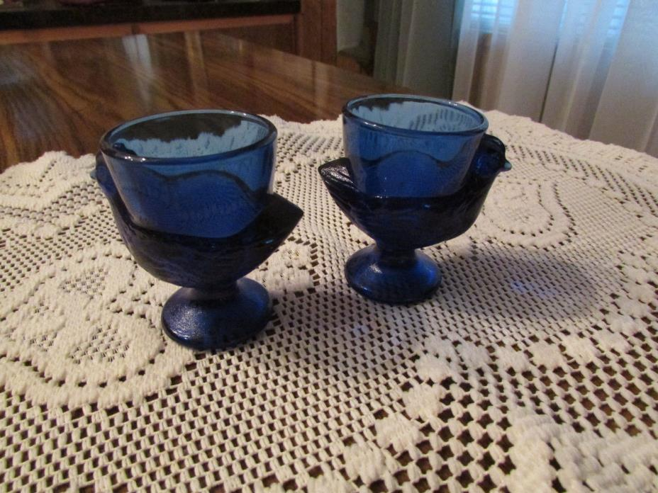 egg holders BLUE GLASS CHICKENS W/EGG HOLDER - 2