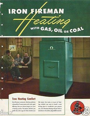 1949 IRON FIREMAN Gas Oil Heating BOILER UNITS Stokers ASBESTOS History Brochure