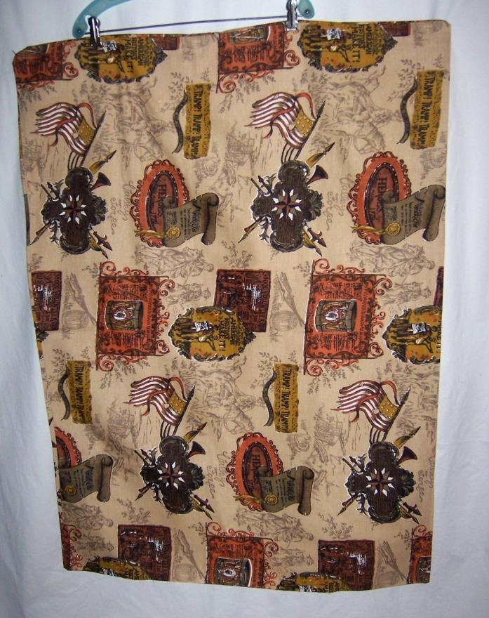 Vintage 70s Colonial Motiff Fabric Panels American Revolution Theme Print