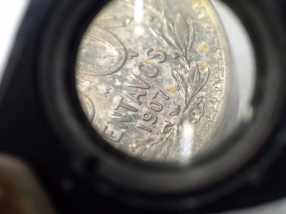 Rare 1907/1907 Double Date Die Mexico 50 Centavos 80% Silver Coin