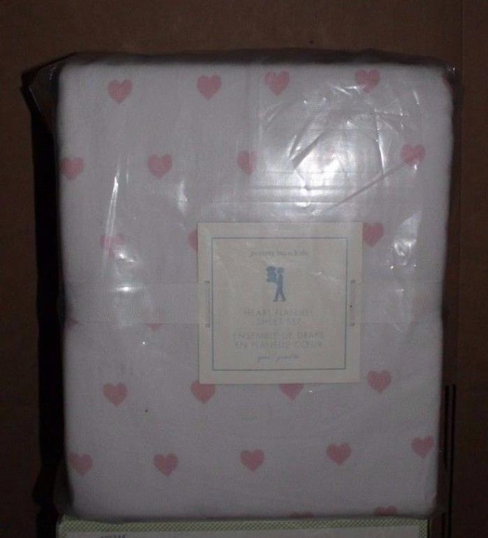 NWT Pottery Barn Kids Heart flannel queen sheet set pink