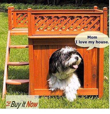 Wanwan Wood Dog House Bed Outdoor Shelter Kennel Sign Cover Lattice Fence Deck