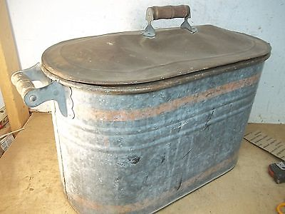 OLd Steel Laundry Wash Tub Boiler with Lid for Garden Planter Flower Pot