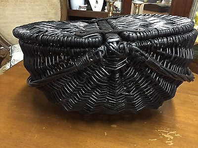 Vintage  Black  Wicker Picnic Basket with Lid
