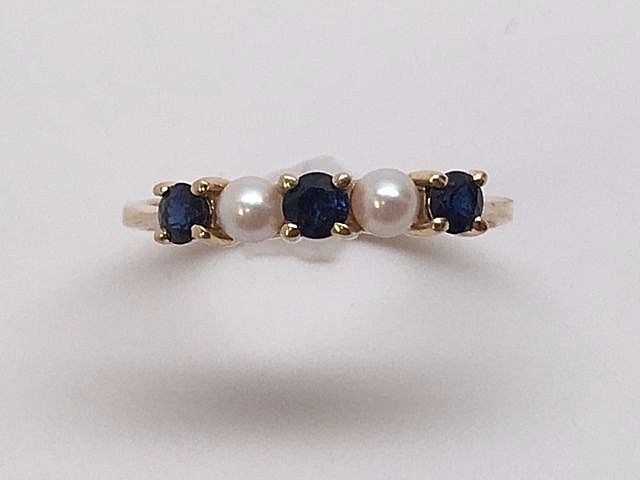 Vintage TIFFANY & CO 14K Yellow Gold Pearl & Blue Sapphire Ring Size 6.5