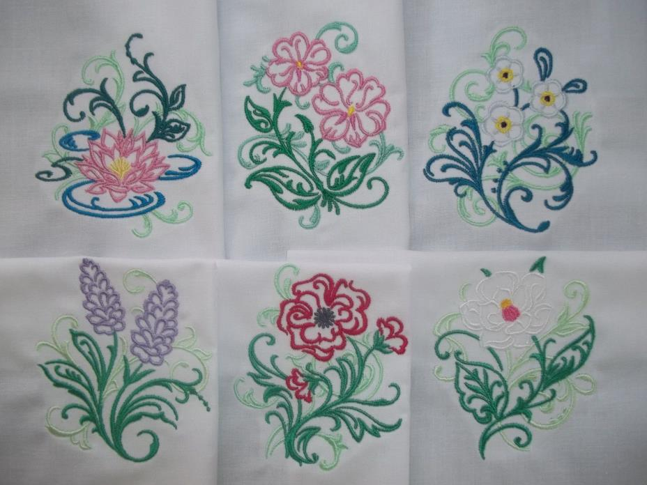 SET OF SIX BEAUTIFUL FLORAL DESIGNS WITH A SWIRLING FILAGREE ACCENT - SET #10