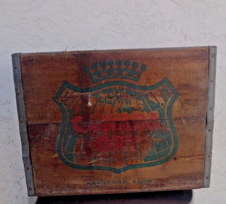 Vintage Canada Dry Ginger Ale Soda Wood Crate Good Condition