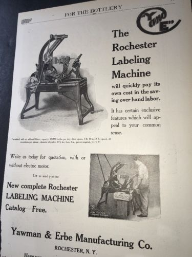 Rochester Bottle Labeler    Beer Ad 1908 Brewery Equipment  New York