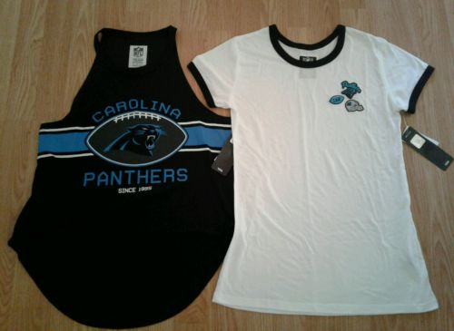 Nwt Carolina Panthers NFL team apparel womens medium lot of 2 tops msrp 47.00!