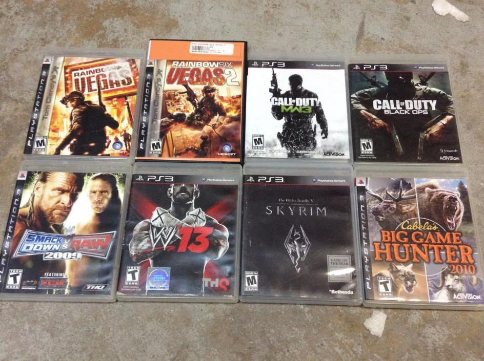Lot of 8 Playstation 3 PS3 Games RAINBOW VEGAS 1 2 MW3 BLACK OPS WWE 13 2009