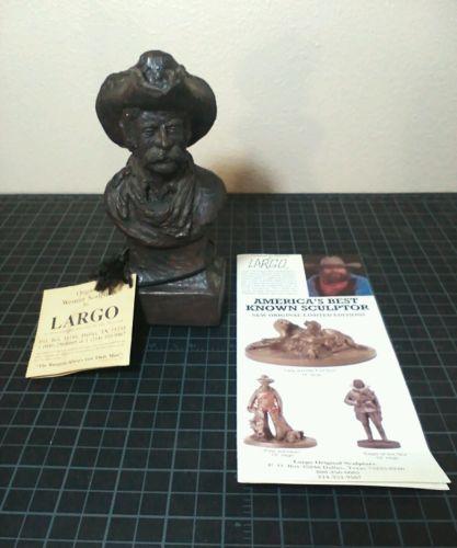 J Largo Western Cowboy Cody Sculpture Bust Statue Signed Figurine COA Included