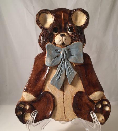 Studio Pottery Bear, Brown, Blue, Primitive, Vintage, EUC, Wall Decor, Baby Boy