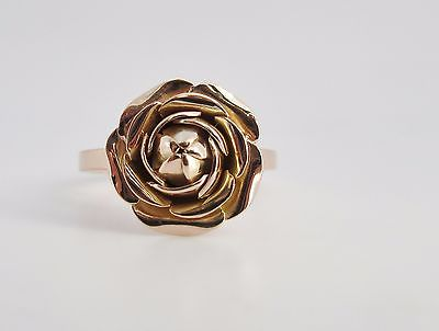 14k Rose Gold Valentine rose ring stacking statement ring size 7
