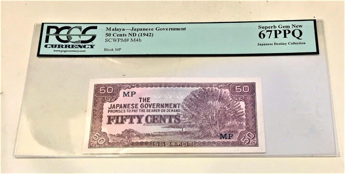 MALAYA JAPANESE GOVERNMENT 50 CENTS-1942-45-PCGS GRADE 67 PPQ SUPERB GEM NEW