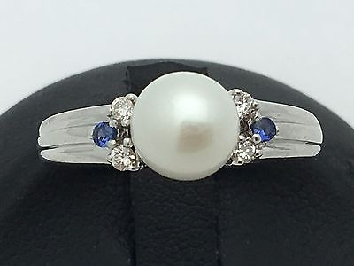 Brand New 18K White Gold Ring with Fresh Water Pearl, Sapphire & Diamonds Size 7