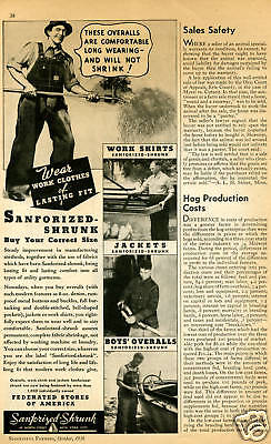 1936 Print Ad of Sanforized Shrunk Farm Overalls Work Shirt