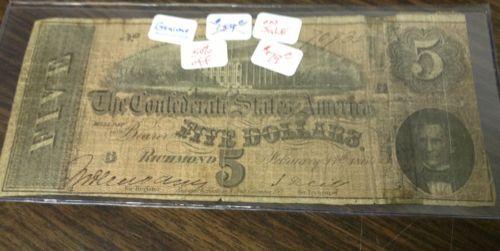 confederate states of america five dollar bill