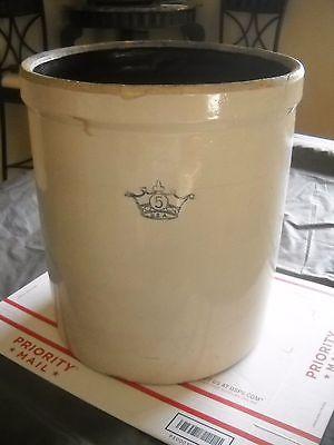 Vtg. Blue Crown Crock Pickling Stoneware Crock.  5 Gal.