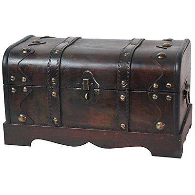 Vintiquewise Pirate Wooden Treasure Chest Suitcase Trunks Storage Decoration