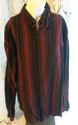 Harley Davidson Men's Black Red Striped LS Button Front Shirt Size XL Tall