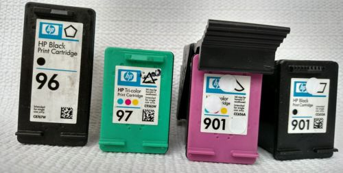 hp 97, 96, 901 color, 901 bw empty ink cartridges FREE SHIPPING