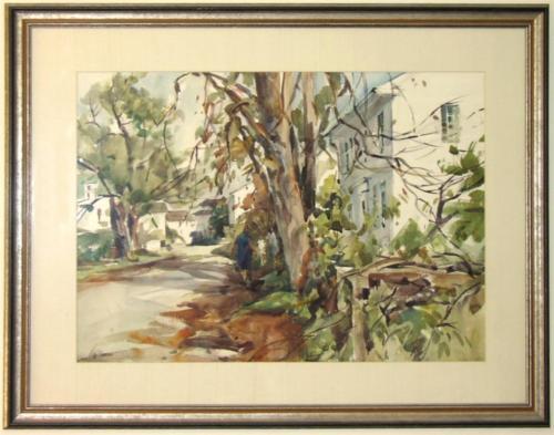 Large Original Betty Lou Schlemm Watercolor - A Rockport Street Scene