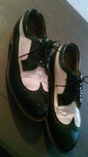 1950'S HYDE METRO BOWLING SHOES MENS SZ 8 OR WOMENS SZ 9 1/2  EC BLACK WHITE