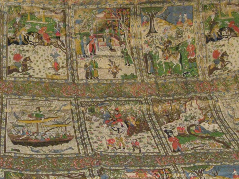 """Vintage Persian/Indian/Mughal Fabric Linen Gold Gilded Intricate Scenes 48""""X102"""""""