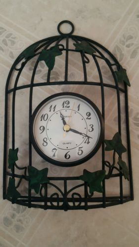 INGRAHAM GREEN WIRE WITH IVY VINE LEAVES QUARTZ BIRD CAGE WALL CLOCK