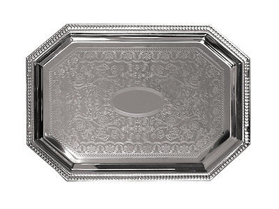 UPDATE CHROME PLATED TRAY OCTAGONAL 17IN X 12IN - CT-1712C