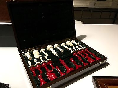Beautiful rare antique Staunton chess set in fitted case