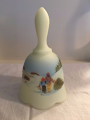 Fenton Satin Custard Glass Bell 1982 COUNTRY CHRISTMAS Pine Tree Scene