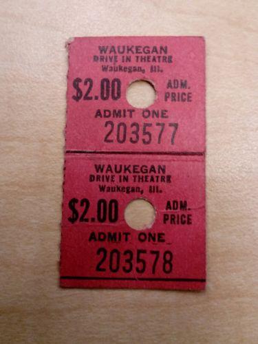 Vintage WAUKEGAN Illinois DRIVE IN THEATER 2 Used Ticket Stubs...