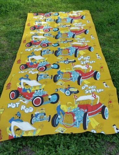 Hot Rod Drag Strip cotton Fabric car print 2 2/3 yds mint
