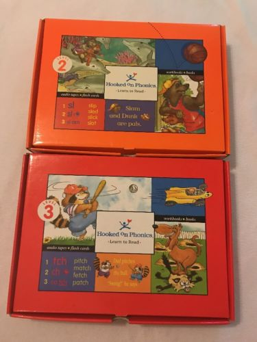 Hooked On Phonics Level 2 & 3 Cassettes Workbooks Flash Cards Books First Grade