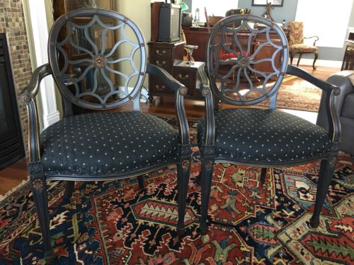 Pair of Drexel Heritage Classic Spider Back Chairs Exc Cd