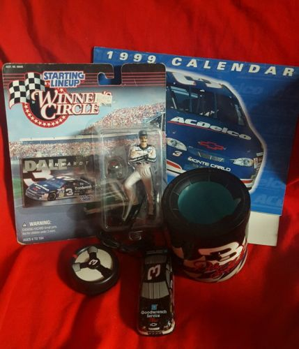 Lot of 4 Dale Earnhardt Action Figure 97' Calendar,Remote Control &Can Cooler