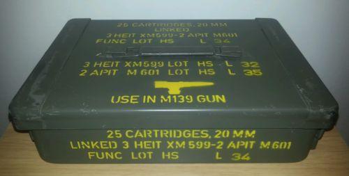 Nice Vietnam Era US Military 20mm Flat Ammo Can Box M139 25 Rd FREE SHIPPING!