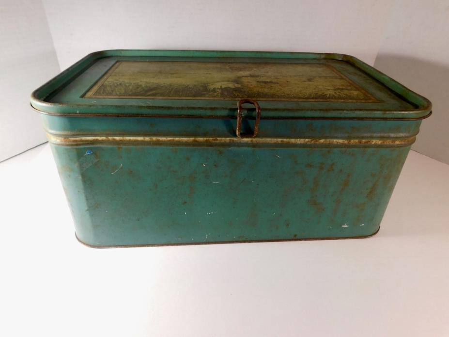 Vintage/Antique Metal Bread Box, Hinged Lid - Shabby Chic